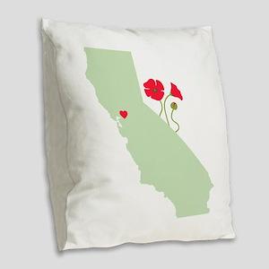 California State Map Burlap Throw Pillow