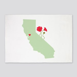 California State Map 5'x7'Area Rug