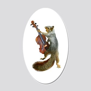 Squirrel with Violin 20x12 Oval Wall Decal