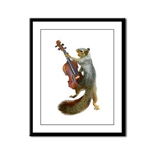Squirrel with Violin Framed Panel Print