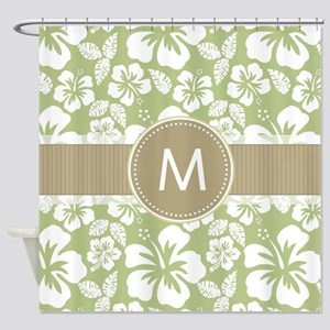 Sage Green and Taupe Brown Tropical Hibiscus Showe