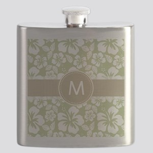 Sage Green and Taupe Brown Tropical Hibiscus Flask