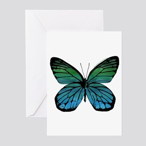 Green Blue Butterfly Greeting Cards (Pk of 10)