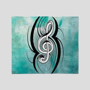 treble clef soft aqua Throw Blanket