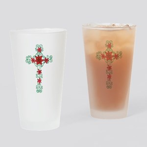 FLORAL CROSS Drinking Glass