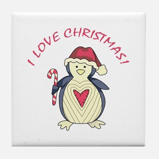I Love Christmas! Tile Coaster