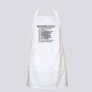 Bachelor Party Checklist Spray Painted Apron