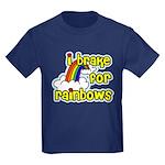 I Brake For Rainbows Kids Dark T-Shirt