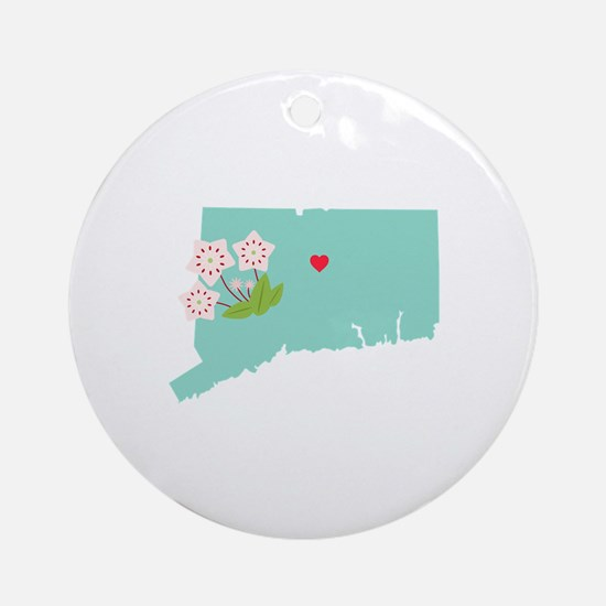 Connecticut State Map Ornament (Round)