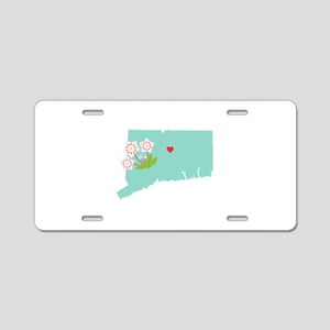 Connecticut State Map Aluminum License Plate