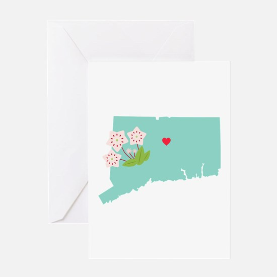 Connecticut State Map Greeting Cards