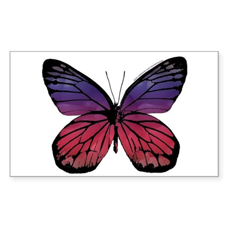 Blue and Red Buttefly Rectangle Sticker