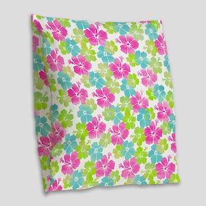 Hawaii hibiscus Burlap Throw Pillow