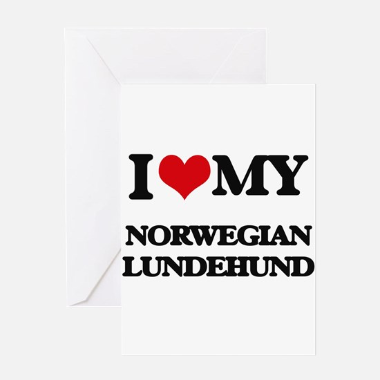 I love my Norwegian Lundehund Greeting Cards