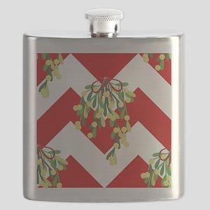 xmas chevron mistletoe Flask