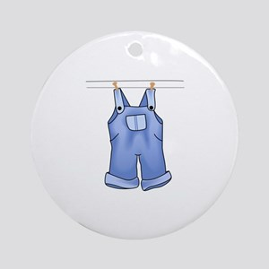 OVERALLS ON CLOTHESLINE Ornament (Round)