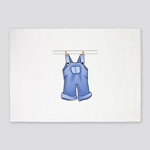 OVERALLS ON CLOTHESLINE 5'x7'Area Rug