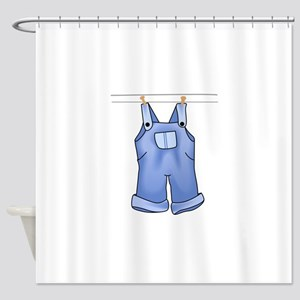 OVERALLS ON CLOTHESLINE Shower Curtain