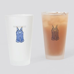 OVERALLS ON CLOTHESLINE Drinking Glass