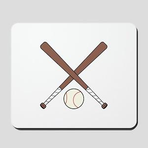 CROSSED BASEBALL BATS AND BALL Mousepad