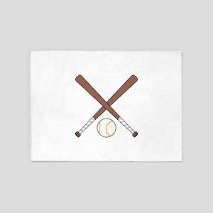 CROSSED BASEBALL BATS AND BALL 5'x7'Area Rug