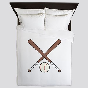 CROSSED BASEBALL BATS AND BALL Queen Duvet