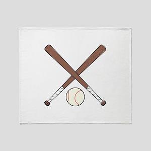 CROSSED BASEBALL BATS AND BALL Throw Blanket