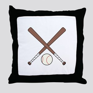 CROSSED BASEBALL BATS AND BALL Throw Pillow