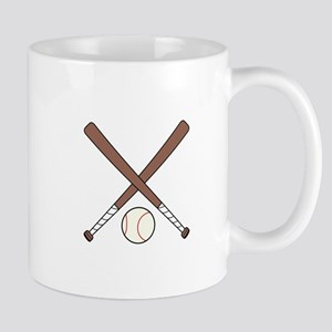 CROSSED BASEBALL BATS AND BALL Mugs