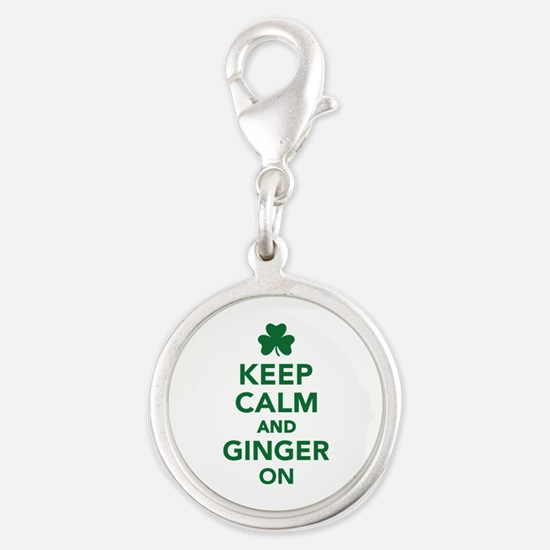 Keep calm and ginger on Silver Round Charm