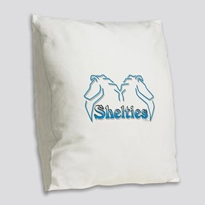Shelties heads Burlap Throw Pillow