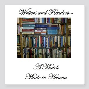 "Writers and Readers Square Car Magnet 3"" x 3"""