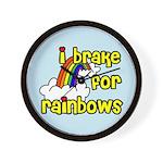 I Brake For Rainbows Wall Clock