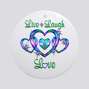 Live Laugh Love Hearts Ornament (Round)
