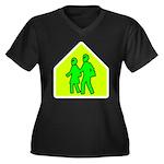 Alien School Xing Women's Plus Size V-Neck Dark T-