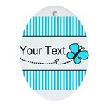 Personalizable Teal Butterfly Ornament (Oval)