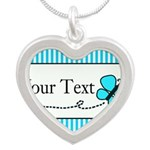 Personalizable Teal Butterfly Necklaces