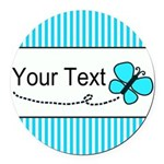 Personalizable Teal Butterfly Round Car Magnet