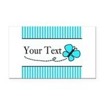 Personalizable Teal Butterfly Rectangle Car Magnet
