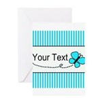 Personalizable Teal Butterfly Greeting Cards