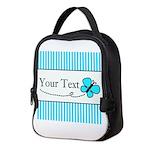 Personalizable Teal Butterfly Neoprene Lunch Bag