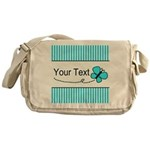 Personalizable Teal Butterfly Messenger Bag