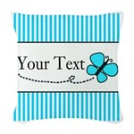 Personalizable Teal Butterfly Woven Throw Pillow