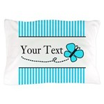 Personalizable Teal Butterfly Pillow Case