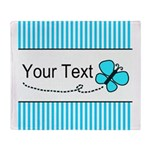 Personalizable Teal Butterfly Throw Blanket