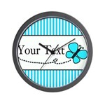 Personalizable Teal Butterfly Wall Clock