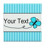 Personalizable Teal Butterfly Tile Coaster