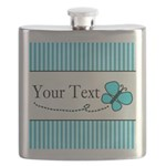 Personalizable Teal Butterfly Flask