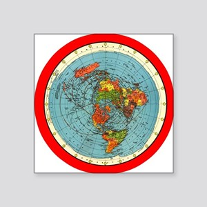 Square Earth Map.Flat Earth Square Stickers Cafepress