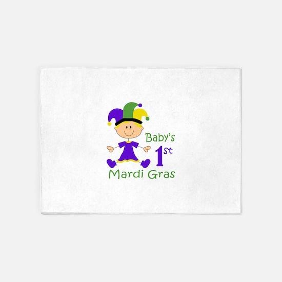BABY GIRLS FIRST MARDI GRAS 5'x7'Area Rug